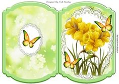 pretty yellow daffodils with butterflies on lace cut and fold card on Craftsuprint - View Now!