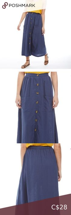 """Only Lenin blend maxi skirt New with tags. Length 34""""  2 front pockets Skirts Maxi Plus Fashion, Fashion Tips, Fashion Trends, High Waisted Skirt, Pockets, Tags, Skirts, Closet, Outfits"""