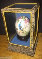 Vintage Oriental Chinese Japanese Hand Painted Signed Egg Peacock Glass Case