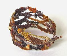 Autumn Freeform peyote bracelet Brown Boho Style от Aqvatali
