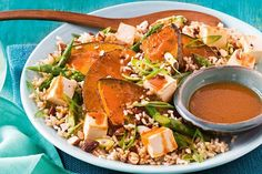 Sticky miso pumpkin salad with roasted chilli almonds