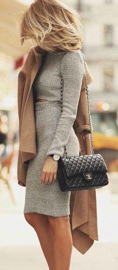 Grey two piece + camel coat