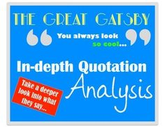 The Great Gatsby - In-Depth Quotations Worksheet