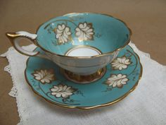 Royal Stafford Teacup and Saucer Turquoise and Gold