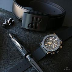 #mensessentials | #Hublot Classic Fusion Aerofusion Black Magic, Hublot belt, bag & cufflinks