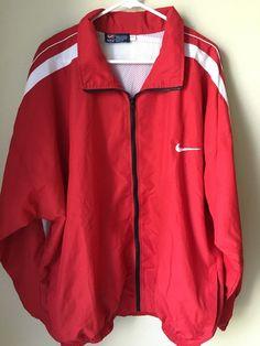 Nike Jacket Red White Windbreaker Full Zip Men's 2XL XXL #Nike #CoatsJackets