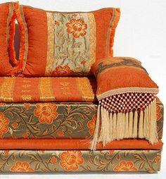 Gypsy Interior Design Dress My Wagon I Serafini Amelia| Design Your Gypsy Vardo Caravan| Deep Orange Floral Motif Couch Sofa