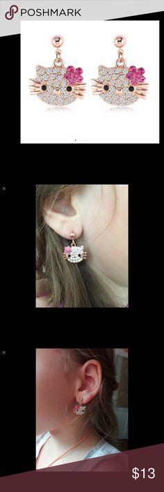 Lovely Cat Stud 18K Rose Gold Plate earrings Lovely Cat Flower Stud Earring for Girls 18K Rose Gold Plate Austrian Crystal Kitten Earings Jewelry Earrings