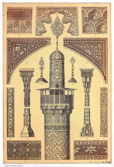 Persian Architecture Entablature, window frame, column capitals, minaret and various architectural details (all from Isfahan*)