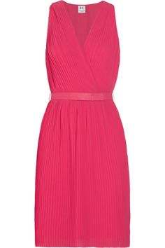 Halston Heritage Belted pleated chiffon dress. Fuchsia or neutral  OutNet