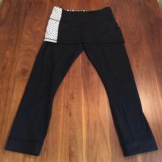 """Lululemon Skirted Capri Leggings Black cropped leggings with overskirt. Skirt is 9"""" in length. 23"""" inseam. lululemon athletica Other"""
