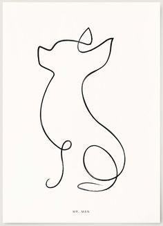 Chihuahua Drawing, Chihuahua Tattoo, Chihuahua Art, Line Art Tattoos, Mini Tattoos, Body Art Tattoos, Small Tattoos, Animal Line Drawings, Cute Cartoon Drawings