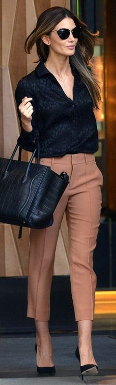 Loose blouse and cropped slacks - bright pants preferred over taupe to brighten up the look
