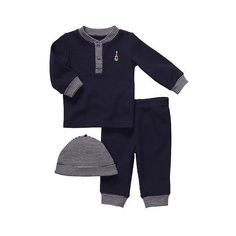 Carter's Boys 3-Piece Layette Set Navy (Newborn) Carters (195 ARS) ❤ liked on Polyvore featuring baby, baby stuff, baby boy, baby boy clothes and kids