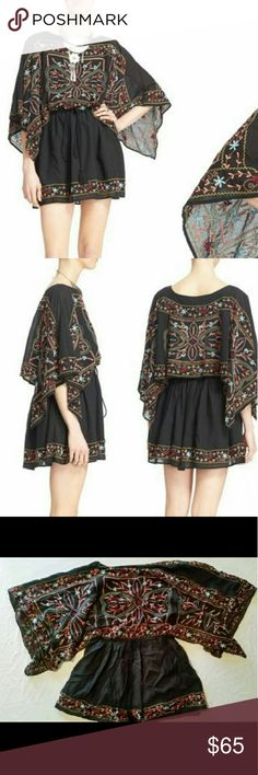Free People sheer Batiste embroidered tunic dress Free People sheer Batiste embroidered tunic dress. Size XS length 28 inches.  Slips on overhead with a bateau neck. Poncho sleeves and drawstring waist. Partially lined. 60% viscose 40% cotton.  Dry clean or hand wash cold dry flat.  Model pictures to show styling and fit. Picture laying flat is the actual item you or receive.  From high-end department store liquidation Overstock season change or returns.  Thank you :-) Free People Dresses…