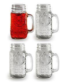 Another great find on #zulily! Embossed Rooster Mason Mug - Set of Four #zulilyfinds