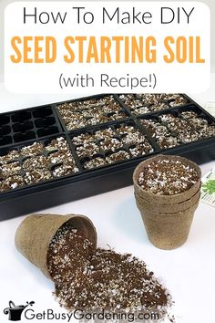 This 3 ingredient seed starting mix recipe uses 8 parts coco coir (or peat moss). - This 3 ingredient seed starting mix recipe uses 8 parts coco coir (or peat moss), 1 part vermiculit - Growing Tomatoes In Containers, Growing Vegetables, Grow Tomatoes, Planting Vegetables, Veggies, Garden Soil, Garden Seeds, Fruit Garden, Fence Garden