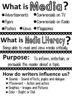 Instruction: Introduction Anchor Chart, is a great starter tool when introducing media and media literacy to students. This is a great way to get them to start thinking about what media literacy is, and even what qualifies as media! Media Literacy, Literacy Activities, What Is Media, Persuasive Text, 6th Grade Reading, Library Lessons, Library Skills, Information Literacy, Reading Anchor Charts