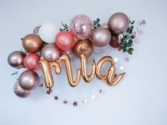 Rose Gold Arch Custom Name Balloons Chrome Copper White Cursive Script Letters Name Balloons, Balloon Lights, Gold Confetti Balloons, White Balloons, Balloon Arch, Balloon Garland, Anniversary Party Decorations, Balloon Decorations Party, Birthday Party Decorations