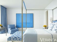 no matchy match here ~ love!  A soothing white bedroom with blue accents from Luis Bustamante (Veranda, November/December 2012)