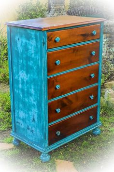 Farmhouse, Vintage Dresser, distressed, blue dresser, with graduated, stained wood, kid's furniture, children's furniture, french country, shabby chic, bedroom furniture, https://www.etsy.com/listing/267985714/farmhouse-dresser-distressed-blue #shabbychicdressersblue #kidsbedroomfurniture #kidfurniture #shabbychicfurniturebedroom #bedroomfurniture
