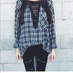 LF vintage Lace up flannel NWT. One Size. This one if defintately more fitted. Colors are cobalt blue/grey $110 shipped offsite NO TRADES LF Tops Button Down Shirts