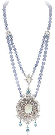 Van Cleef & Arpels: Médaillon Précieux long necklace, Pierres de Caractère White gold, chalecedony beads, pear-shaped and oval-cut aquamarines, round, pear-shaped diamonds, white opals, pink gold, rose-cut colored sapphires