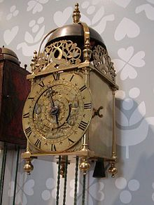A lantern clock is a type of antique weight-driven wall clock, shaped like a lantern. They were the first type of clock widely used in private homes.[1] They probably originated before 1500 but only became common after 1600;[1] in Britain around 1620. They became obsolete in the 19th century.
