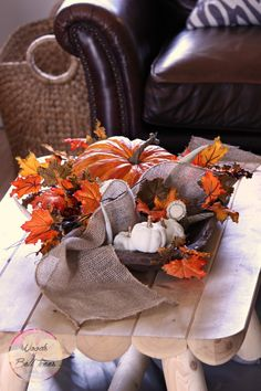 A Harvest Dough Bowl using vintage and new items to decorate for fall! - Woods of Bell Trees
