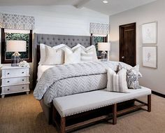 Neutral bedroom with shiplap accent wall. Neutral bedroom with shiplap accent wall Ideas neutral-bedroom-with-shiplap-accent-wall Tracy Lynn Studio Design via Inst Master Bedroom Color Schemes, Gray Bedroom Walls, Shiplap Accent Wall, Master Bedroom Design, Grey Bedroom Decor, Bedroom Decor, Bedroom Color Schemes, Bedroom Colors, Master Bedroom Colors