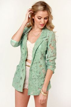 Pretty Sage Green Blazer - Lace Blazer - $62.00