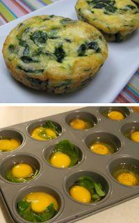 bake an egg, spinach, and whatever other seasonings sound good in a muffin pan for 15 mins, then cool for 5 mins, and enjoy :). sounds simple enough! wonder if i'll actually do it??! haha... the joys of pinterest ;)