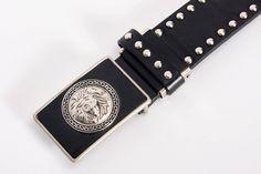 men's versace inspired leather belt vintage 1990s • Revival Vintage Boutique by RevivalVintageBoutiq on Etsy