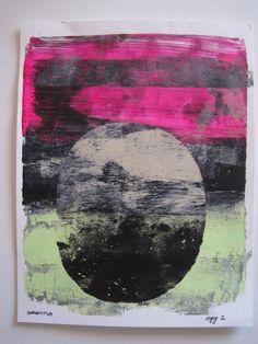 """Black hot pink  art oval art green black art zen art wall art original print original art """"egg 2"""""""