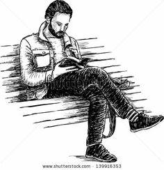 man reading a book - stock vector