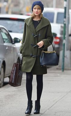 3bc2a221681a Swift Strides from Celebrity Street Style Taylor Swift shopped for some art  supplies and fabric in SoHo wearing a chic green trench coat and adorable  navy ...