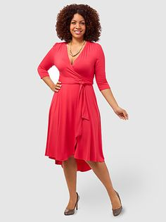 wow!!! a plus-size store using PLUS-SIZE MODELS!!!!! WHY DOESN'T EVERYONE DO THIS????   Winona Hi-Lo Wrap Dress Coral
