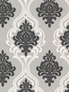 Wallpaper pattern Indiana Black Damask available from Steve's Wallpaper Collection.