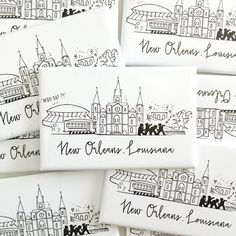 Original artwork by Natalie Kilgore - Skyline of New Orleans, Louisiana - Measures 2.75 x 1.75 - Covered with scratch- and UV-resistant Mylar - Printed on 100% recycled paper - Printed and assembled locally in the USA © NATTY MICHELLE PAPERIE DESIGNS, ARTWORK AND IMAGES OF