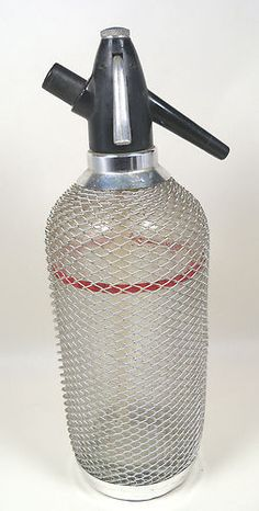 Vintage Art Deco Wire Mesh Seltzer Soda Water Syphon Bottle with Glass Tube 14"