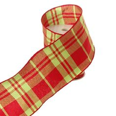 Red & Bright Lime Green Plaid Christmas Holiday Wired Ribbon, 4 Inch Wide X 10 Yards RZI http://www.amazon.com/dp/B00D60S0TE/ref=cm_sw_r_pi_dp_lRwyub1YGNJGX