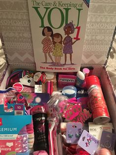 """Girls growing up/ first period kit. After reading American Girl """"The Care and… Girls growing up/ first period kit. First Period Kits, Raising Girls, Raising Daughters, Future Mom, Up Girl, Kids And Parenting, Parenting Win, Parenting Hacks, Keepsake Boxes"""