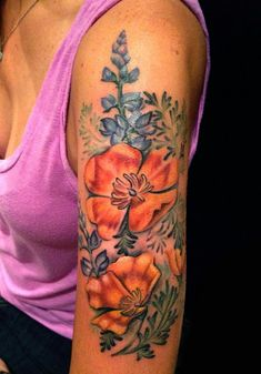 Poppies and Lupine by Mallory Swinchock -  California Poppies with Lupine Tattoo on the arm