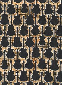 GUITAR Sheet Music Quilt Fabric ~ Black Guitars at #fabric4you