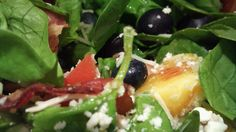 Spinach Salad with Bacon, Feta, Blueberries and Peaches