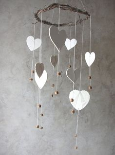 Heart Mobile, Home Decor, Nursery Room, Office Decor, Natural Wood and Cotton, Handmade Weaved Rustic Love via Etsy