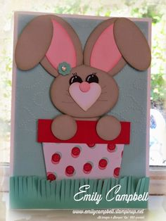 This cute wee Easter Bunny was so easy with my punches and fringe scissors!  I am really learning to love punch art.  See the recipe at Tiny Kiwi Cards.