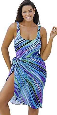 dce0176bf846 Beach Belle Women's Mystic Swimsuit with Sarong at Amazon Women's Clothing  store: