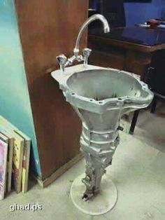 Transmission sink for the hardcore man cave - or garage room. Shared by highroadorganizers.com