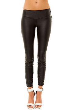 The Vegan Leather Ankle Zip Legging in Black by Blank NYC